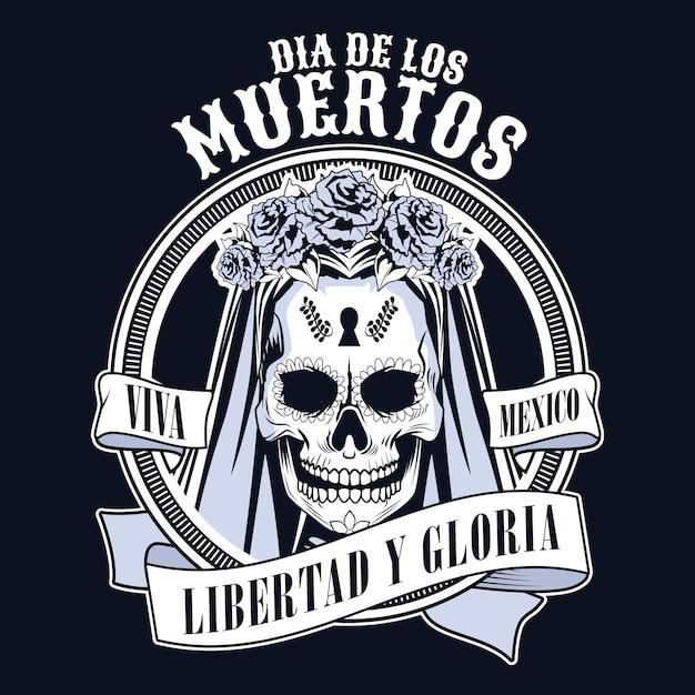여자 두개골과 리본 벡터 일러스트 디자인으로 Dia De Los Muertos 축하 프리미엄 벡터