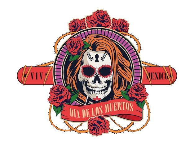 여자 두개골과 장미 꽃 벡터 일러스트 디자인으로 Dia De Los Muertos 축하 프리미엄 벡터