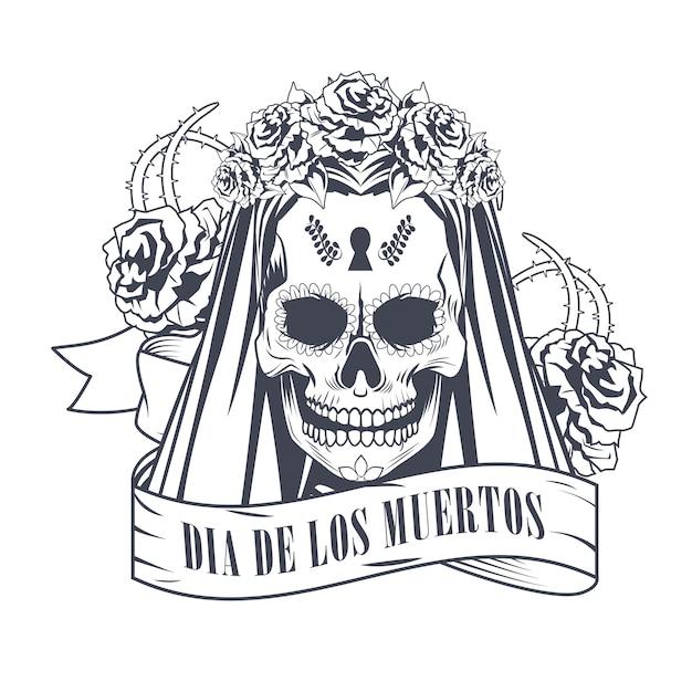 리본 프레임 드로잉 벡터 일러스트 레이 션 디자인에 여자 두개골과 Dia De Los Muertos 축하 프리미엄 벡터