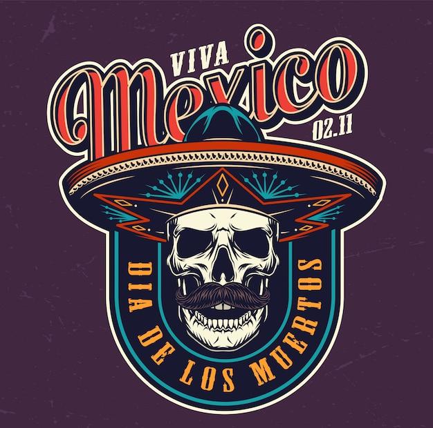 Dia de los muertos colorful logo Free Vector