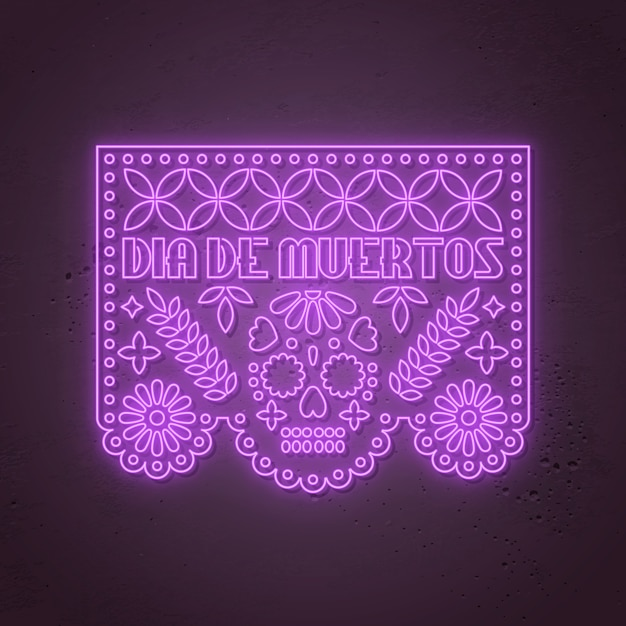 Dia de los muertos - day of the dead, mexican  neon style Premium Vector