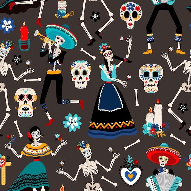 Dia de los muertos、頭蓋骨、骸骨、花のイラストで死んだパターンのメキシコの日 Premiumベクター