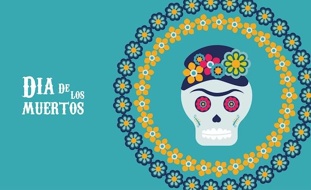 花の円形フレームのイラストデザインのカトリーナスカルとディアデロスムエルトスポスター Premiumベクター