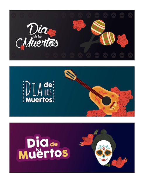 Dia de los muertos poster with katrina skull and instruments Premium Vector