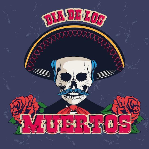 Mariachi 두개골과 장미 꽃 벡터 일러스트 디자인으로 Dia De Los Muertos 포스터 프리미엄 벡터