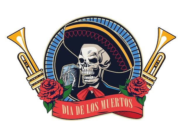 Mariachi 두개골과 트럼펫 벡터 일러스트 디자인으로 Dia De Los Muertos 포스터 프리미엄 벡터