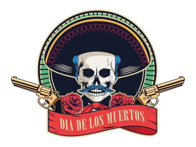 Dia de los muertos poster with mariachi skull and guns crossed in ribbon frame vector illustration design Premium Vector