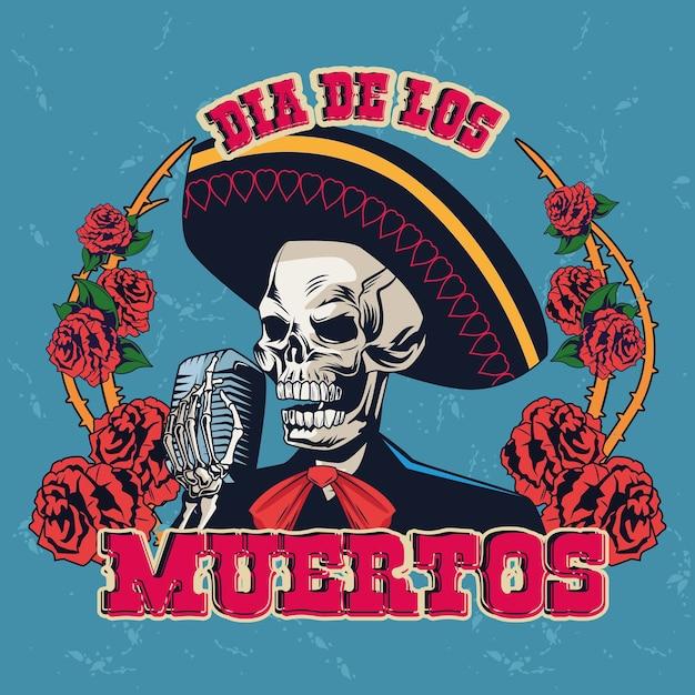 마이크와 장미 벡터 일러스트 디자인으로 마리아치 두개골 노래와 함께 Dia De Los Muertos 포스터 프리미엄 벡터