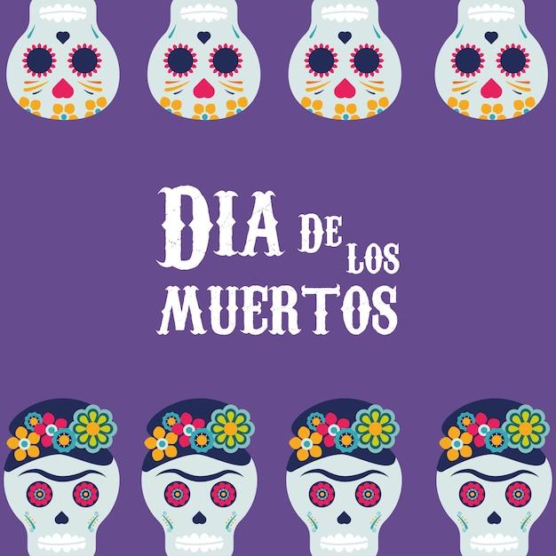 두개골 프레임 일러스트 디자인으로 Dia De Los Muertos 포스터 프리미엄 벡터