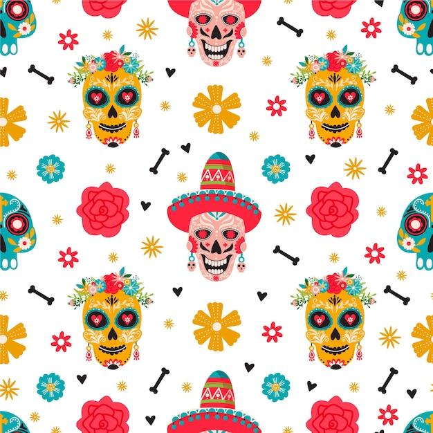 Dia De Los Muertos 완벽 한 패턴입니다. 전통적인 멕시코 축제. 프리미엄 벡터