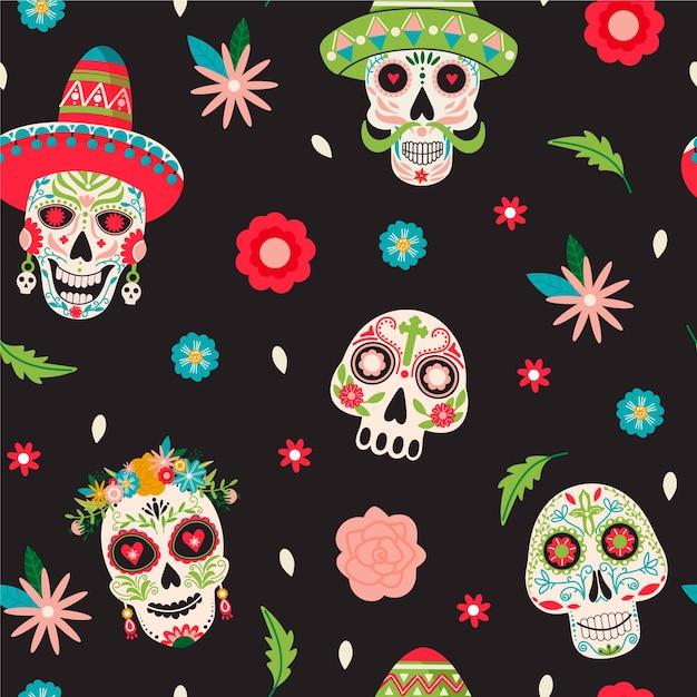 Dia De Los Muertos 완벽 한 패턴입니다. 프리미엄 벡터