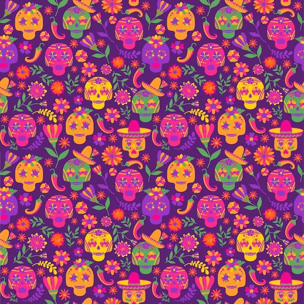 Dia de los muertos seamless vector pattern. the main symbols of the holiday on the dark ba Premium Vector