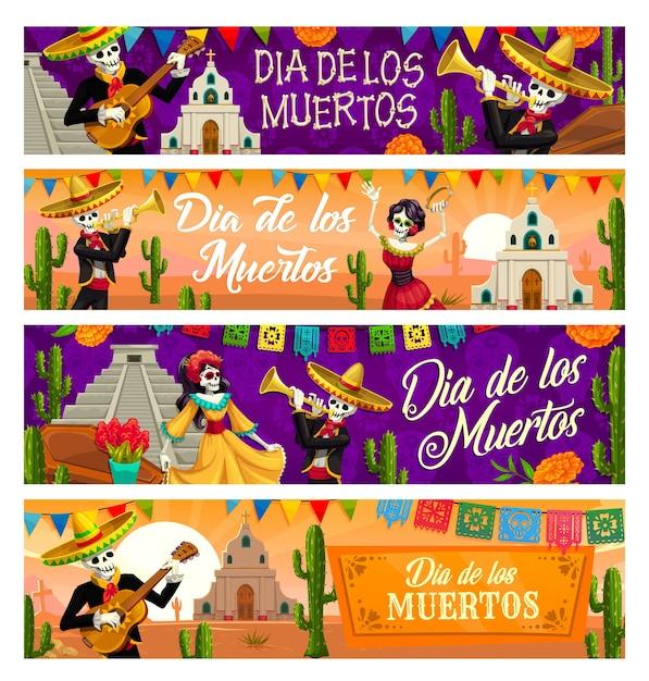 죽은 자의 멕시코 날 휴일의 Dia De Los Muertos 해골 배너. 솜브레로 모자, 기타 및 트럼펫, 파펠 피카도 깃발, 선인장 및 금잔화가있는 Catrina Calavera 및 Mariachi 두개골 프리미엄 벡터