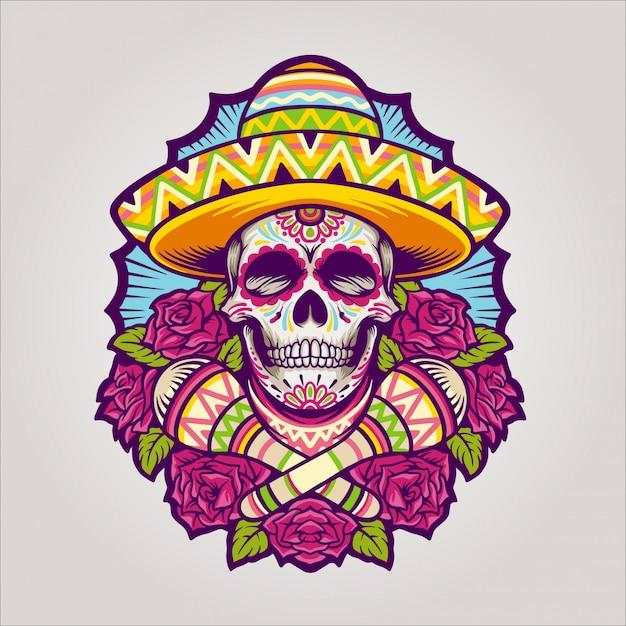 Dia de los muertos череп Premium векторы
