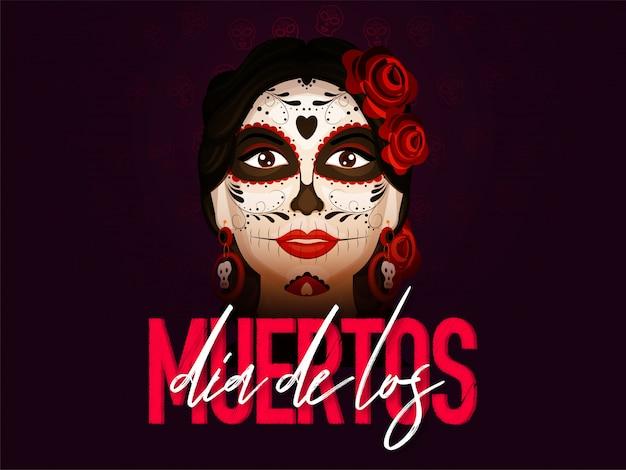 Стильный текст dia de los muertos с катриной на бордовом цвете. баннер или плакат. Premium векторы
