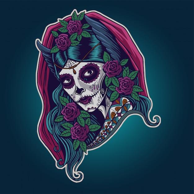 Dia de los muertos. иллюстрация мексиканской катрины Premium векторы