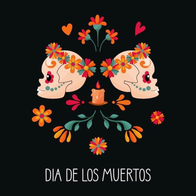 Сахарные черепа и цветочные украшения на темном фоне. день мертвых. dia de los muertos. Premium векторы