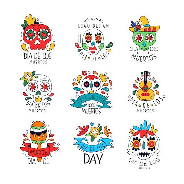 Набор логотипов dia de los muertos, элементы мексиканского праздника день мертвых можно использовать для рисования баннеров, плакатов, открыток или приглашений. Premium векторы