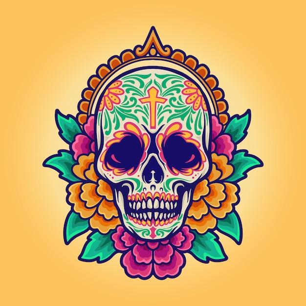 Мексиканский череп синко де майо, dia de los muertos Premium векторы