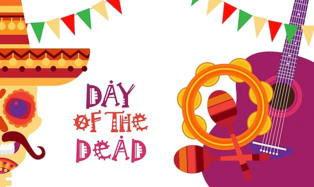Череп день мертвых концепции традиционный мексиканский хэллоуин dia de los muertos праздничный праздник украшение баннер приглашение Premium векторы