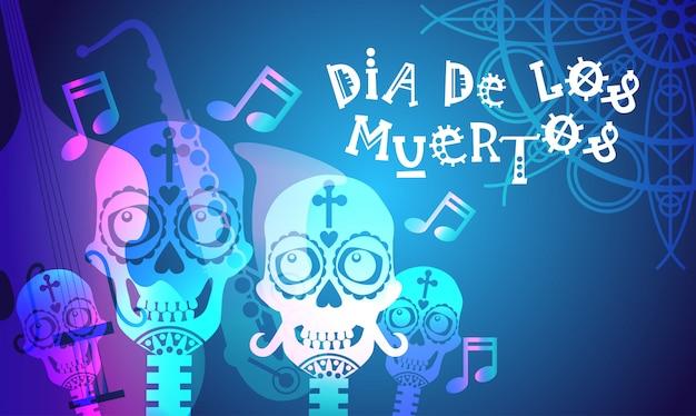День мертвых традиционный мексиканский хэллоуин dia de los muertos праздничная вечеринка украшение баннер приглашение Premium векторы