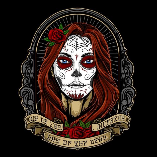 Dia de los muertos девушка лицо картина вектор дизайн Premium векторы