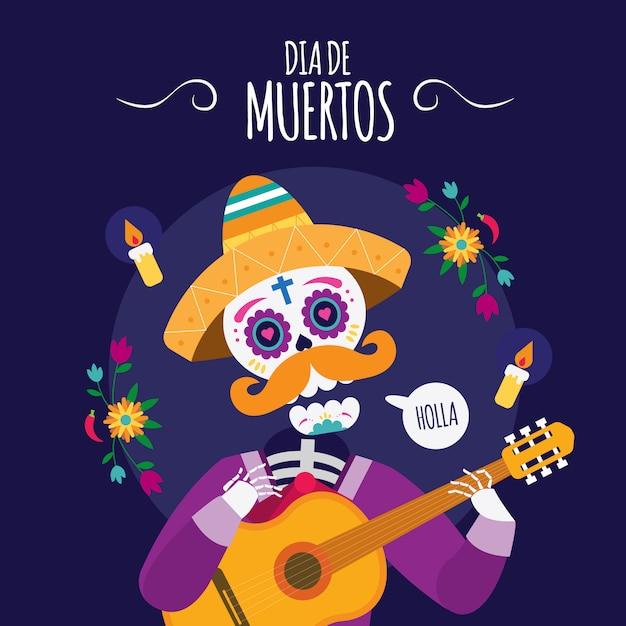 Dia de los muertos мексиканский череп играет на гитаре иллюстрация Premium векторы