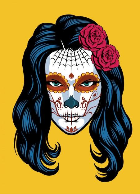 Женщины на сахарном черепе делают из dia de los muertos Premium векторы
