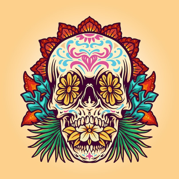 Dia de muerto summer skull Premium Vector
