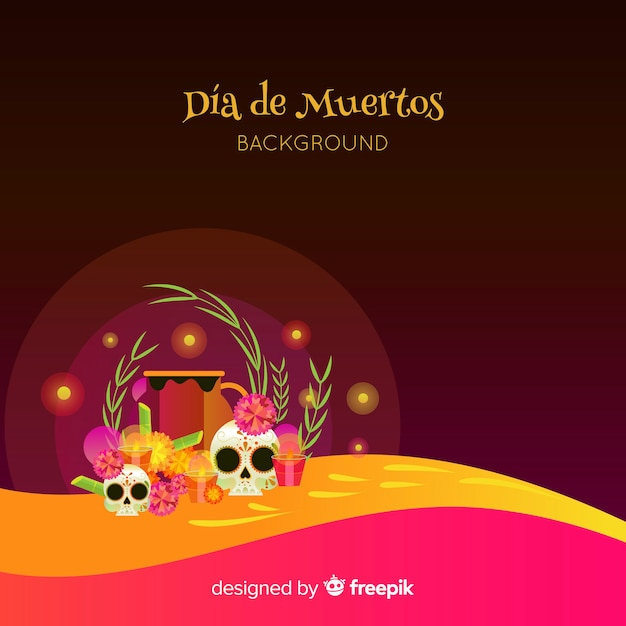 Dia de muertos background design Free Vector