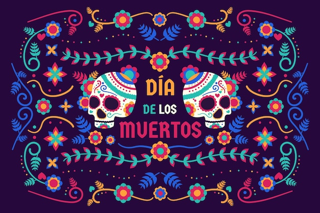 Dia de muertos background in flat design Free Vector