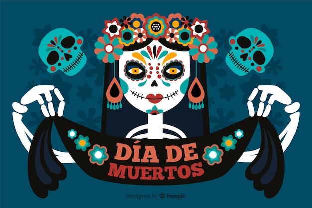 Dia de muertos фон со скелетной женщиной и лентой Бесплатные векторы
