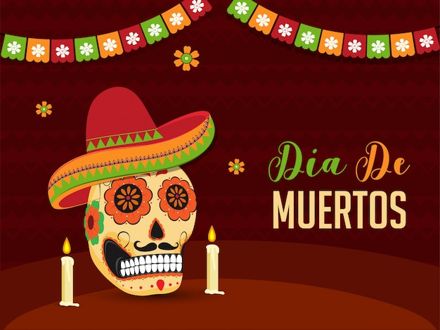 Dia de muertos banner or poster  with illustration of ornate skull or calavera wearing sombrero hat and illuminated candles on brown abstract . Premium Vector