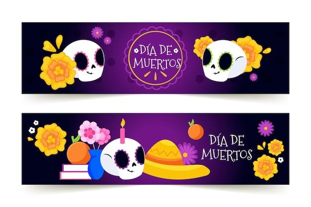 Dia de muertos banners in flat design Free Vector