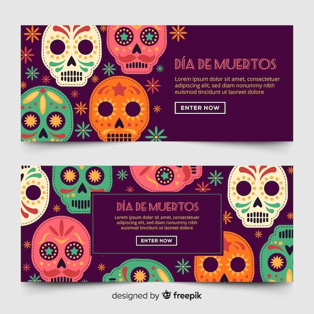 Día de muertos banners in flat style Free Vector