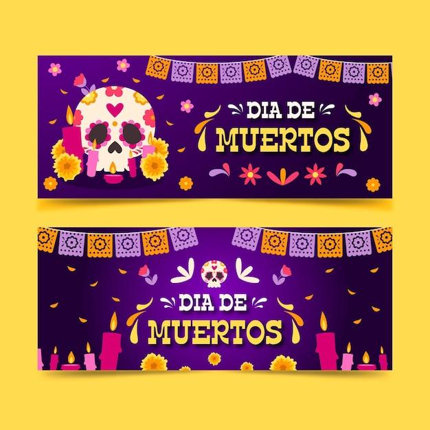 Баннеры dia de muertos в плоском дизайне Бесплатные векторы