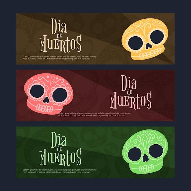 Баннеры día de muertos в плоском дизайне Бесплатные векторы