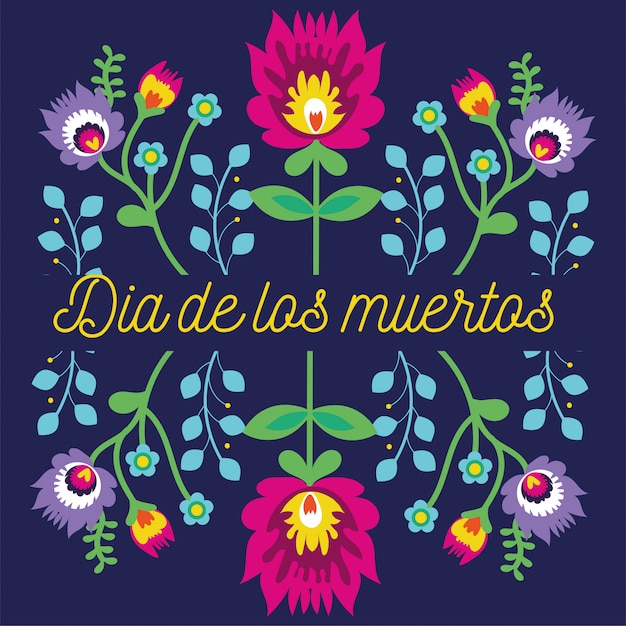 Dia de muertos card lettering with flowers garden decoration Free Vector