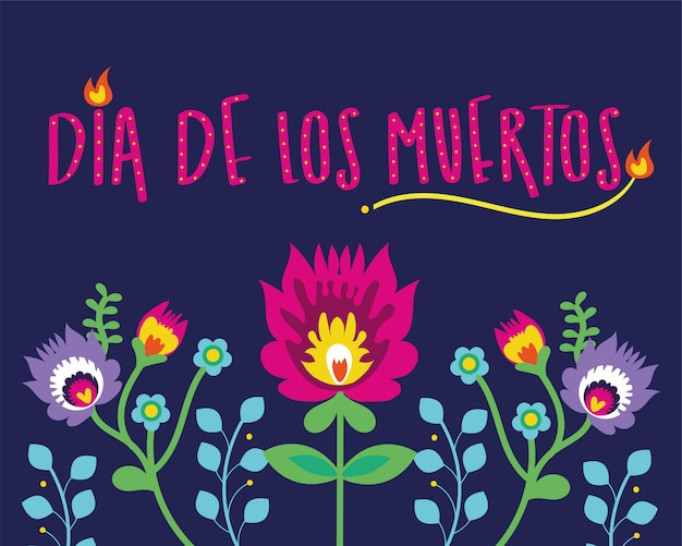 Dia de muertos card lettering with flowers Free Vector