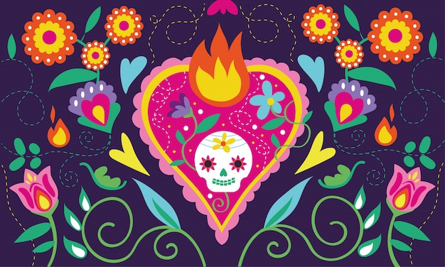 Dia de muertos card with heart skull and floral decoration Free Vector