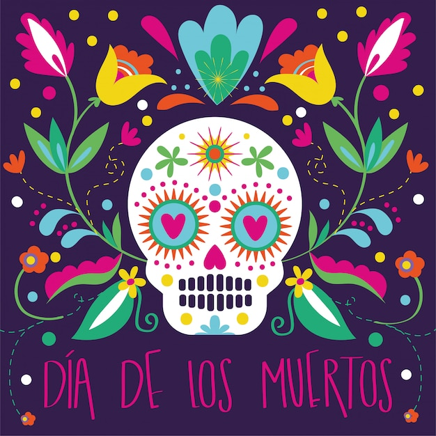 Dia de muertos card with skull and floral decoration Free Vector