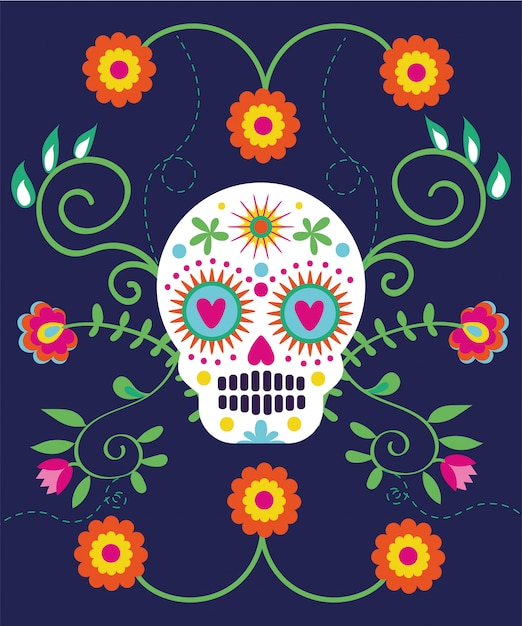Dia de muertos card with skull and flowers Free Vector
