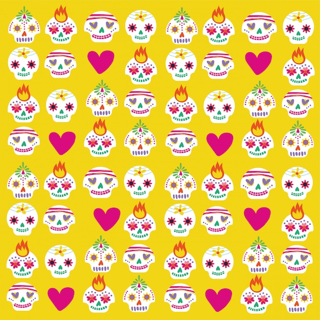 Dia de muertos card with skulls and hearts bundle Free Vector