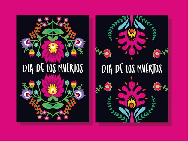 Dia de muertos cards lettering with flowers Free Vector