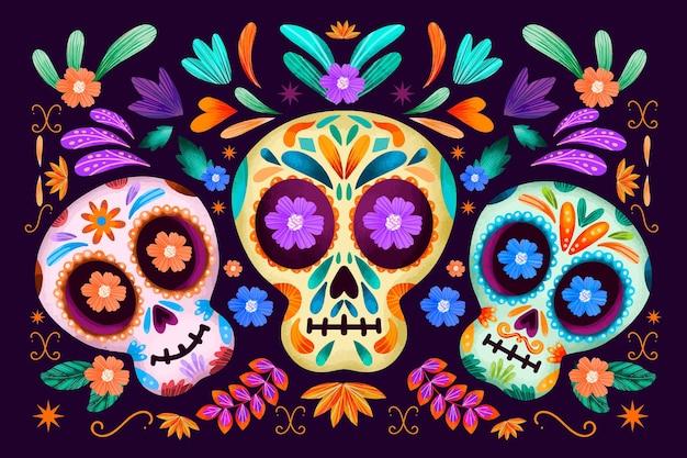 Dia de muertos colourful floral skulls background Free Vector