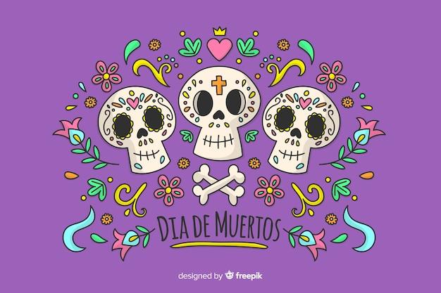 Концепция dia de muertos в рисованной Бесплатные векторы