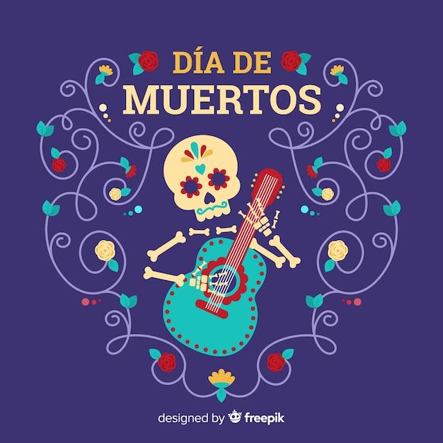 Día de muertos концепция с плоским фоном дизайна Бесплатные векторы