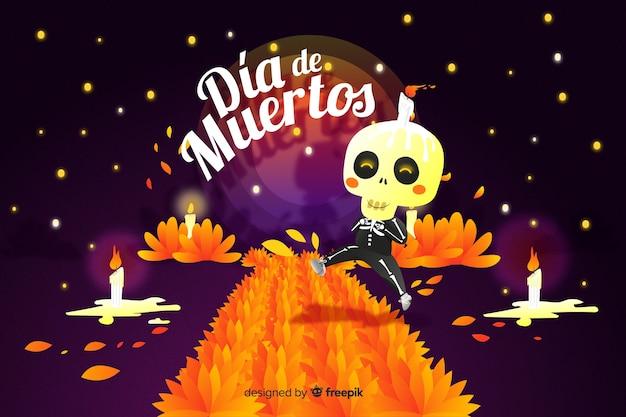 Día de muertos concept with hand drawn background Free Vector