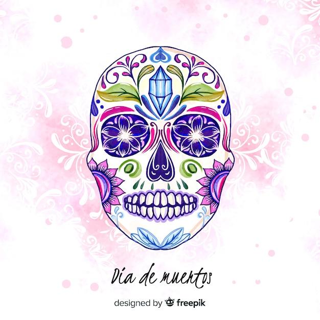Dia de muertos concept with watercolor background Free Vector