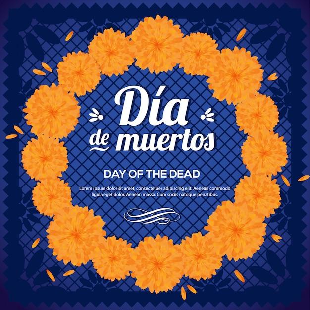 Día de muertos (day of the dead)  marigold flower wreath Premium Vector